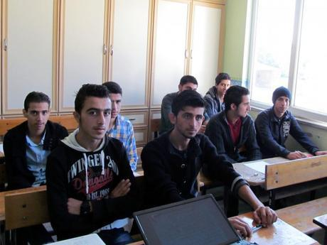 Syrian Economic Forum students learning civic education in Syria.
