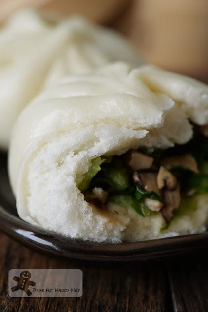 Vegetarian Chinese Steamed Buns with Bok Choy and Mushrooms 蔬菜包 - Vegan too!