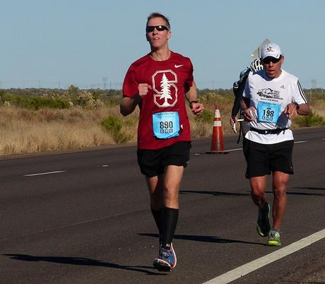 Mike Sohaskey at mile 21 of Tuscon Marathon 2015