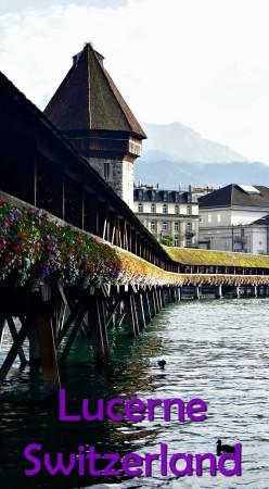 Picturesque Lucerne, Switzerland is known for its medieval bridge, originally built in 1333.