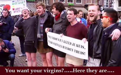 dutchmen in miniskirts protest Muslim sex assaults, Amsterdam, Jan. 16, 2016