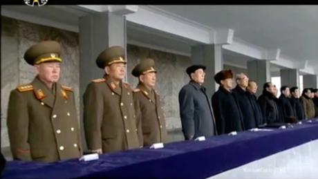 General Ri Myong Su (left) with other senior DPRK officials at a February 8, 2016 rally celebrating the launch of the Kwangmyo'ngso'ng-4 (Photo: KCTV screen grab).