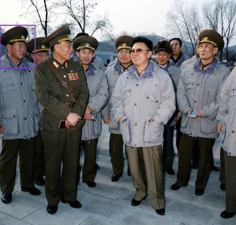 Ri Myong Su (annotated) at a field inspection in 1996 with Kim Jong Il (Photo: NK Leadership Watch file photo).