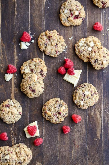 These Raspberry White Chocolate Oatmeal Cookies are super thick with crisp edges, big chunks of white chocolate and freeze dried raspberries.