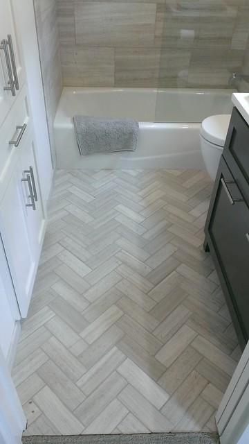 herringbone tile in the bathroom is popular in 2016