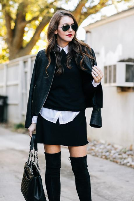 Amy Havins wears all black paired with stuart weitzman over the knee highland boots.