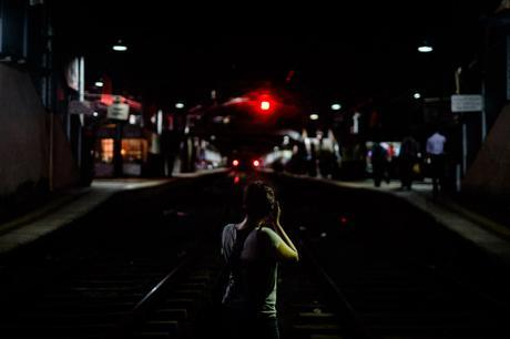 Charlene at Colombo Fort station. The fact that you can just stand on the tracks still boggles my mind!
