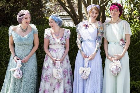 British attire for the bridesmaids