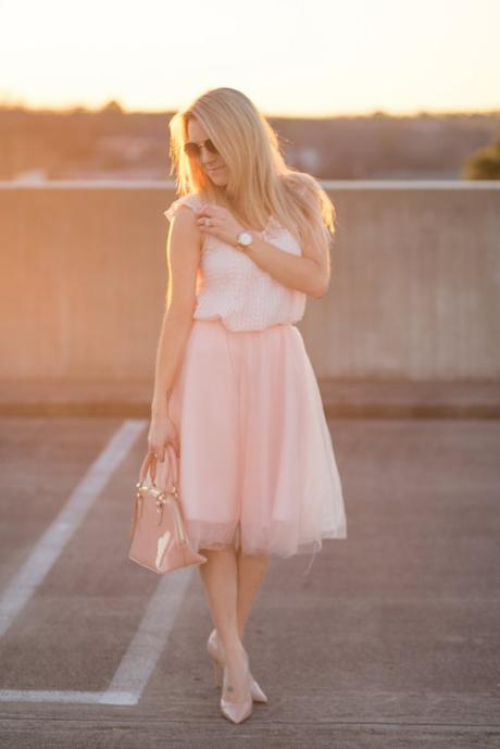 Valentine's Day blush outfit.
