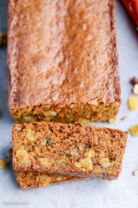 This Paleo Carrot Bread is incredibly moist, and full of spices, chopped walnuts and golden raisins. This hearty bread is gluten-free and refined sugar free.