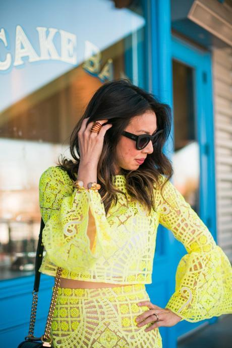 alexis yellow lace aurora crop top, stuart weitzman nudist heel, chanel boy bag, quay kitty sunglasses, julie vos byzantine bangle, vita fede futuro ring