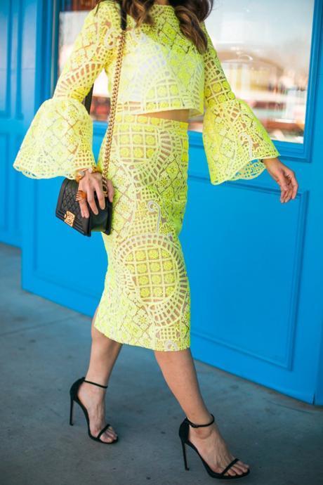 alexis yellow lace aurora crop top, stuart weitzman nudist heel, chanel boy bag, quay kitty sunglasses, spring 2016 outfit