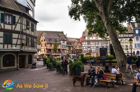 Charming square in Colmar, France.
