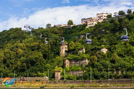 Cable car across the Rhine River in Koblenz, Germany.