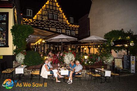 Cafe at night in Rudesheim, Germany.
