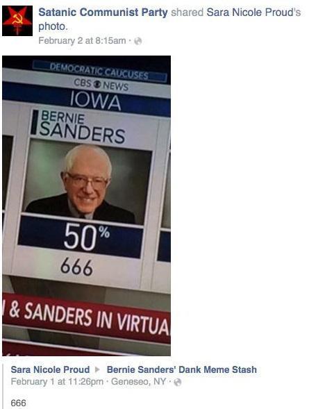 Satanic Communist Party for Bernie Sanders