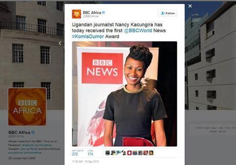 Ugandan journalist Nancy Kacungira wins first BBC World Komla Dumor Award