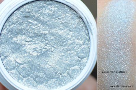 glitterati Colourpop super shock eyeshadow is an interesting mix of gold and silver
