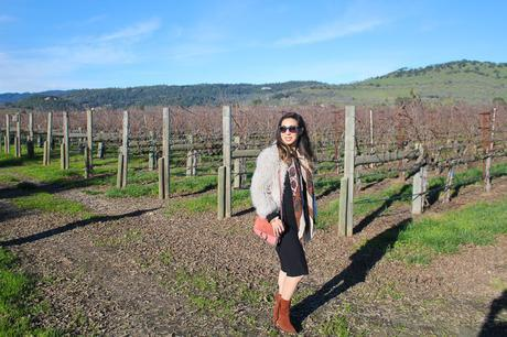 travel outfit napa valley in feb, iro kald jacket, dolce vita fringe booties, chloe faye bag in pink