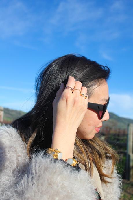 travel outfit napa valley in feb, iro kald jacket, julie vos baroque bracelet