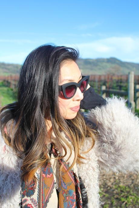 travel outfit napa valley in feb, iro kald jacket, quay kitty sunglasses