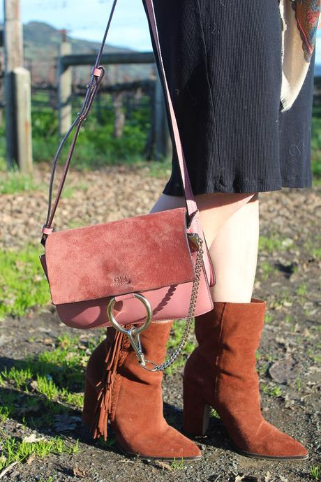travel outfit napa valley in feb, dolce vita fringe booties, chloe faye bag in pink
