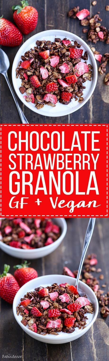 This Chocolate Strawberry Granola is healthy enough to eat for breakfast, but so delicious you'll want to have it for dessert too! This easy granola recipe is gluten-free and vegan.