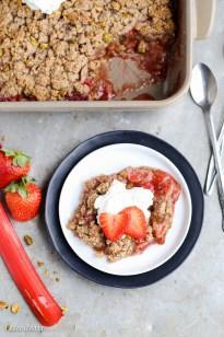 Strawberry Rhubarb Crisp (Paleo, GF + Vegan)