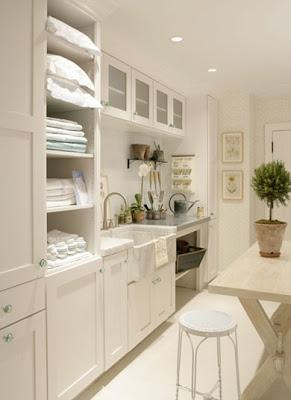 laundry room with potting table