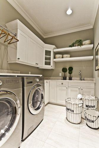 white laundry room with baskets