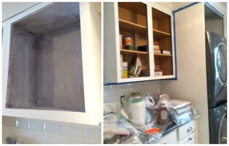 during the painting of the cabinetry with Annie SLoan Chalk Paint