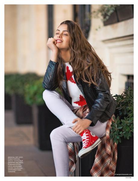 Marie-Ange Casta wearing Mango, Max Mara, Levi's, Converse Sneakers © Benjamin Kanarek