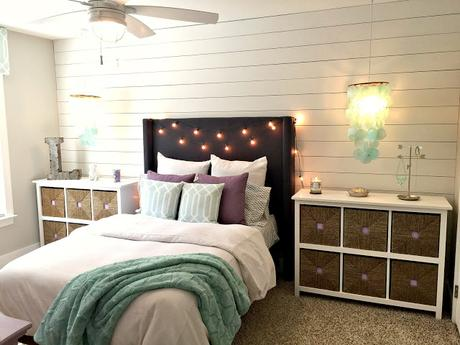 Teen Gray, Turquoise, and Lavender Bedroom Makeover!!