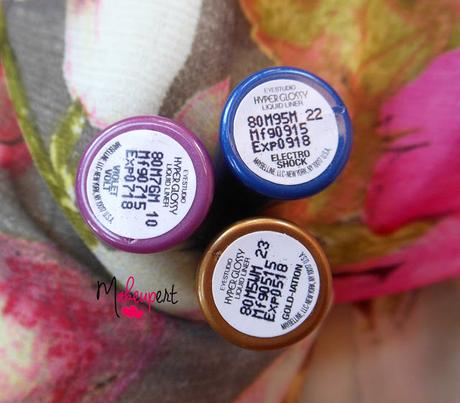 Maybelline Hyper Glossy Electrics Liquid Eyeliner - Violet Volt, Electro Shock, Gold-iation // Review, Swatches