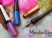 Maybelline Hyper Glossy Electrics Liquid Eyeliner Violet Volt, Electro Shock, Gold-iation Review, Swatches