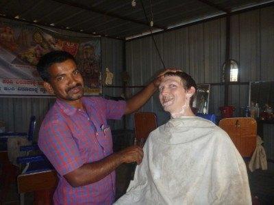 Getting my beard chopped off in Hampi, India