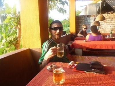 Cold beers for sunset at Mowgli