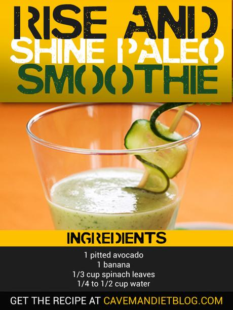 Paleo Breakfast: Rise & Shine Paleo Smoothie Recipe Image with Ingredients