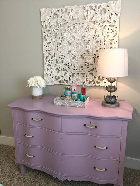 Before and After Lavender Dresser Makeover for a Teen's Bedroom!