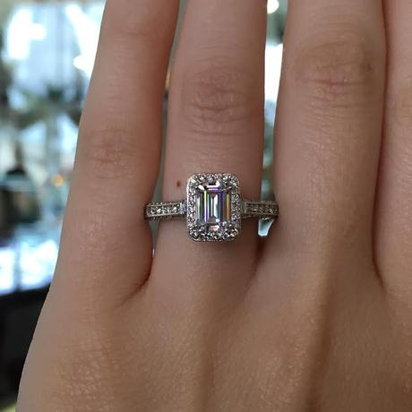 Tacori Classic Crescent Emerald Cut Halo Ring