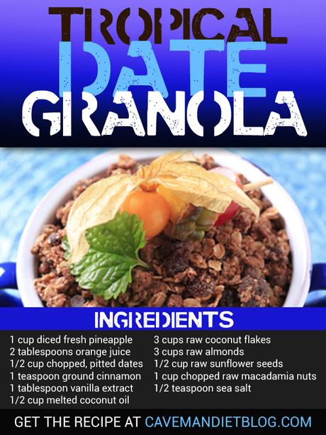 Paleo Breakfast: Tropical Date Granola Recipe Image with Ingredients