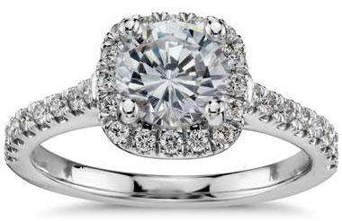 Cushion Halo Diamond Engagement Ring in 14k White Gold (1/3 ct. tw.) at Blue Nile