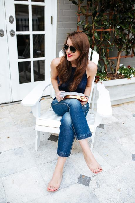 Dallas blogger Amy Havins wears 7 For All Mankind Jeans.