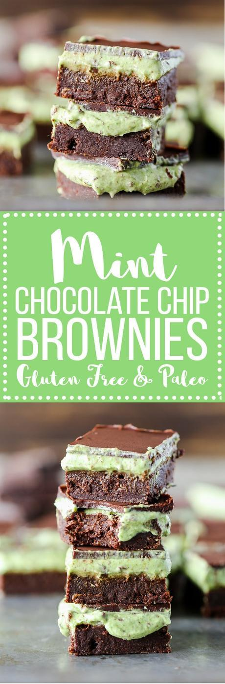 These Mint Chocolate Chip Brownies are ultra rich and fudgy with a mint chocolate chip topping! They are gluten-free, refined sugar-free + Paleo-friendly, and you'll never guess healthy ingredient they contain.