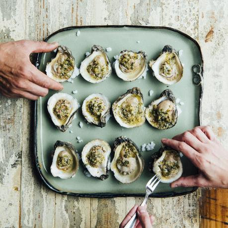 Smoked Oysters with Jalapeño Lemon Butter