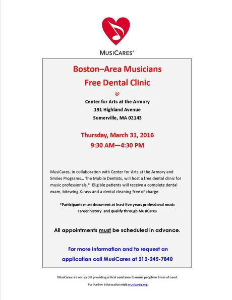 Free Dental Clinic for Music Professionals, Somerville, 3/31