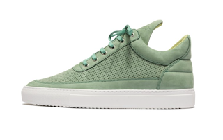Green All Around: Filling Pieces Low-Top Tone Perforated Mint Sneaker