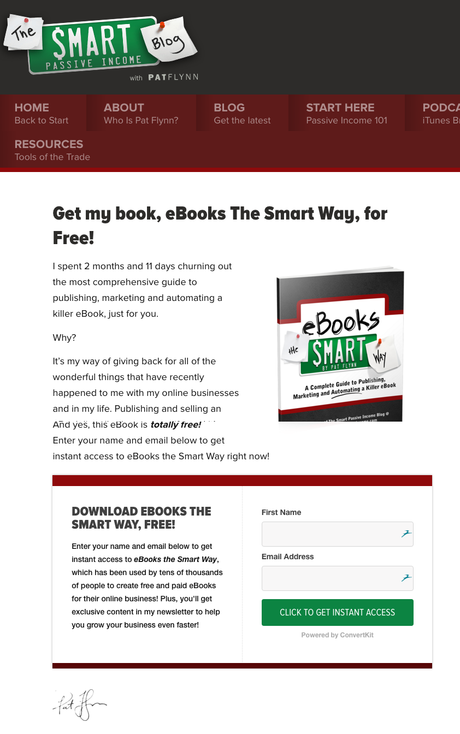 email list landing page pat
