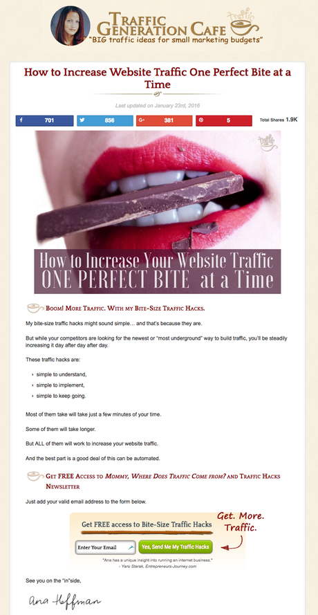Email list building landing page example: Traffic Generation Café