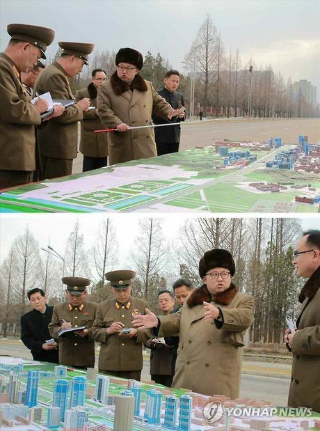 Kim Jong Un issues instructions about the layout and design of Ryomyo'ng Street in Pyongyang (Photo: KCNA-Yonhap).